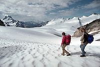 Hikers on Pernicular Pass, Bugaboo Mountains, British Columbia, Canada