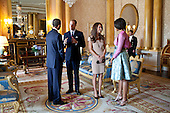 President Barack Obama and First Lady Michelle Obama talk with the Duke and Duchess of Cambridge in the 1844 Room at Buckingham Palace in London, England, May 24, 2011..Mandatory Credit: Pete Souza - White House via CNP