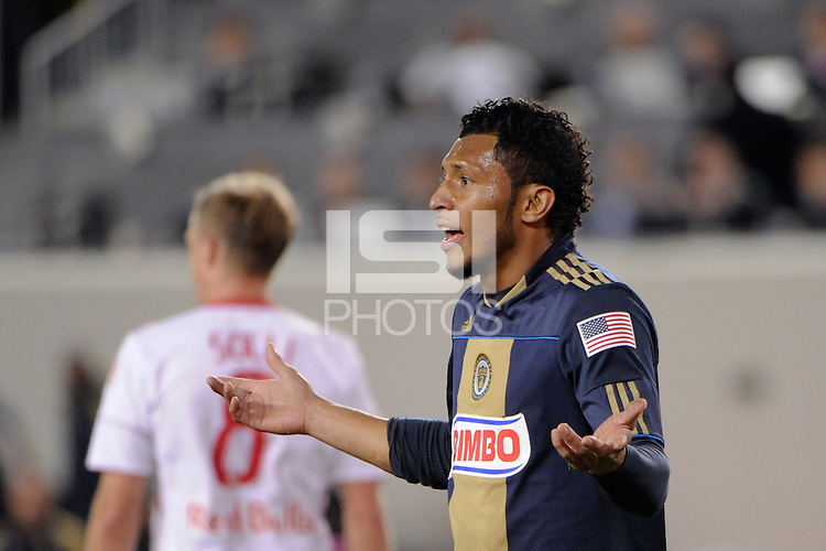 Carlos Valdes (5) of the Philadelphia Union looks for a call. The New York Red Bulls defeated the Philadelphia Union  1-0 during a Major League Soccer (MLS) match at Red Bull Arena in Harrison, NJ, on October 20, 2011.