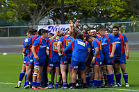 The Nua huddle before the 2018 Heartland Championship Lochore Cup rugby final between Horowhenua Kapiti and Wairarapa Bush at Levin Domain in Levin, New Zealand on Sunday, 28 October 2018. Photo: Dave Lintott / lintottphoto.co.nz