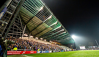Picture by Allan McKenzie/SWpix.com - 13/04/2018 - Rugby League - Betfred Super League - Leeds Rhinos v Wigan Warriors - Headingley Carnegie Stadium, Leeds, England - A general view, gv, of Leeds playing Wigan at Emerald Headingley, stand, construction, pylon, lights.