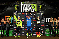 SX2 Podium (L-R) Chris Blose 2nd ; Wilson Todd 1st and Jackson Richardson 3rd<br /> Monster Energy Aus-XOpen<br /> Supercross &amp; FMX International<br /> Qudos Bank Arena, Olympic Park NSW<br /> Sydney AUS Saturday 11  November 2017. <br /> &copy; Sport the library / Jeff Crow