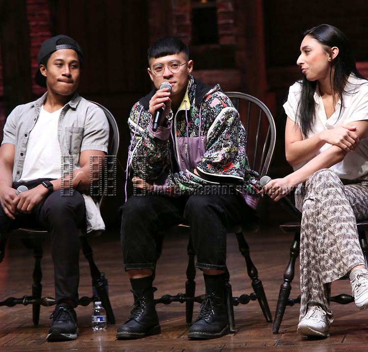 """Daniel Yearwood, Preston Mui and Lauren Boyd during the Q & A before The Rockefeller Foundation and The Gilder Lehrman Institute of American History sponsored High School student #eduHAM matinee performance of """"Hamilton"""" at the Richard Rodgers Theatre on 3/12/2020 in New York City."""