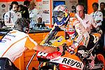 Jerez Circuit. Jerez de la Frontera. 03.05.2014. The rider Dani Pedrosa in the box during the qualifying practice of MotoGP at Jerez de la Frontera