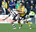 ST MIRREN'S DOUGIE IMRIE HOLDS OFF CELTIC'S JOE LEDLEY.