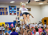 NWA Democrat-Gazette/JASON IVESTER<br /> Siloam Springs High sophomore Emma Hulbert falls into the arms of her teammates while stunting Thursday, June 15, 2017, during the B2 Cheer &amp; Dance Northwest Arkansas Day Camp at Central Junior High School in Springdale. Cheer squads from local junior high and high schools are participating in the three-day camp hosted by Springdale Har-Ber High.