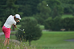 Kathleen Ekey droves the ball on the 9th hole during Alliance Bank Classic Golf in Syracuse; NY.
