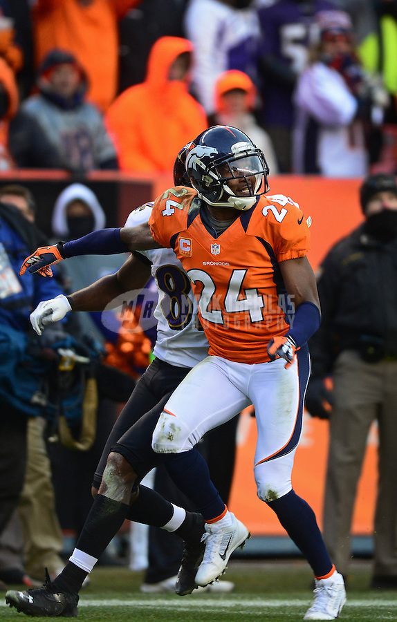 Jan 12, 2013; Denver, CO, USA; Denver Broncos cornerback Champ Bailey (24) against the Baltimore Ravens during the AFC divisional round playoff game at Sports Authority Field.  Mandatory Credit: Mark J. Rebilas-