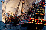 Exploration, The Golden Hind, historic sailing ship, Sir Francis Drake's Golden Hind replica under full sail, Pacific Ocean, commemorating Drake's around the world (1577-1580) Voyage of Discovery, Pacific Ocean, off the coast of Washington State, ship on port tack, viewed from the stern,