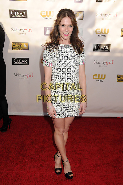 Katie Aselton.18th Annual Critics' Choice Movie Awards - Arrivals held at Barker Hangar, Santa Monica, California, USA, .10th January 2013 .full length mini dress short sleeved black white flowers print pattern sandals ankle strap open toe .CAP/ADM/BP.©Byron Purvis/AdMedia/Capital Pictures.