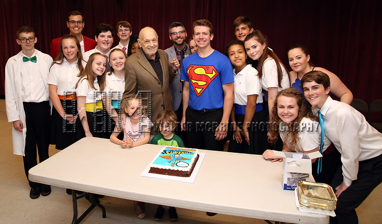 Charles Strouse with grandchildren, performers and company celebrating his 90th Birthday during the Children's Theatre of Cincinnati presentation for composer Charles Strouse of 'Superman The Musical' at Ripley Grier Studios on June 8, 2018 in New York City.