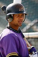 Emilio Bonifacio of the Lancaster JetHawks plays in a California League baseball game during the 2006 season in Lancaster, California. (Larry Goren/Four Seam Images)