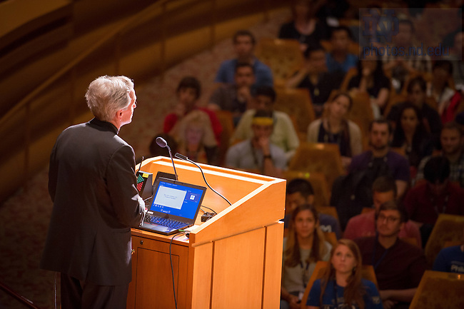 August 15, 2016; Notre Dame President Rev. John I. Jenkins, C.S.C. speaks at the Graduate School Orientation 2016. (Photo by Matt Cashore/University of Notre Dame)