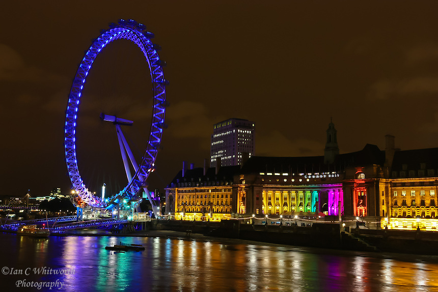 The coloured light of the London Eye at Night