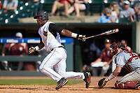 Josh Stowers (25) of the Louisville Cardinals follows through on his swing against the Florida State Seminoles in Game Eleven of the 2017 ACC Baseball Championship at Louisville Slugger Field on May 26, 2017 in Louisville, Kentucky. The Seminoles defeated the Cardinals 6-2. (Brian Westerholt/Four Seam Images)
