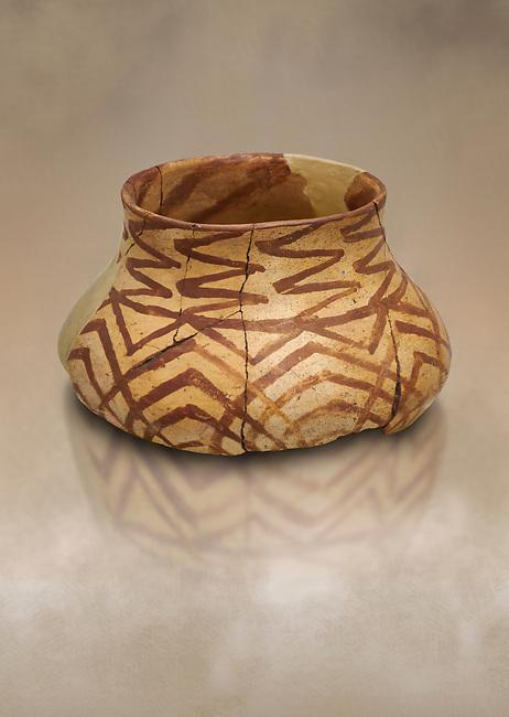 Chalcolithic decorated terra cotta pot. Circa 5000BC. Catalhoyuk collection, Konya Archaeological Museum, Turkey