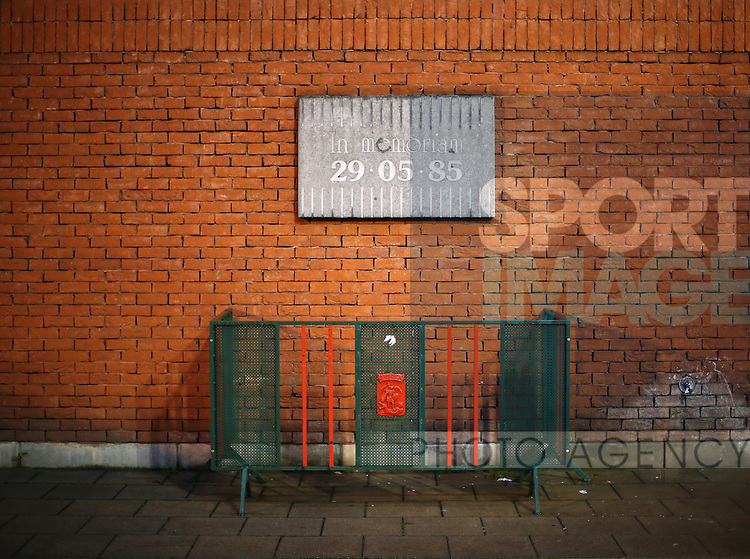 A small plaque on a wall to commemorate the Heysel disaster of 1985<br /> <br /> - European Qualifier - Belgium vs Wales- Heysel Stadium - Brussels - Belgium - 16th November 2014  - Picture David Klein/Sportimage
