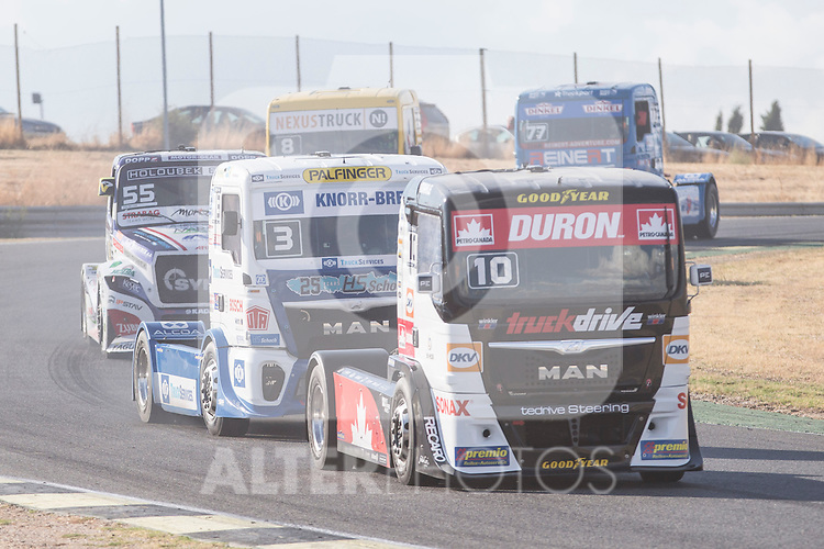 German driver Jochen  Hahn belonging German team Jochen Hahn and Monegasque driver Ellen Lohr belonging German team Truck Sport Lutz Bernau during the fist race R1 of the XXX Spain GP Camion of the FIA European Truck Racing Championship 2016 in Madrid. October 01, 2016. (ALTERPHOTOS/Rodrigo Jimenez)