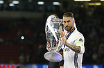 Real Madrid's Sergio Ramos celebrates with trophy during the Champions League Final match at the Principality Stadium, Cardiff. Picture date: June 3rd, 2017. Pic credit should read: David Klein/Sportimage