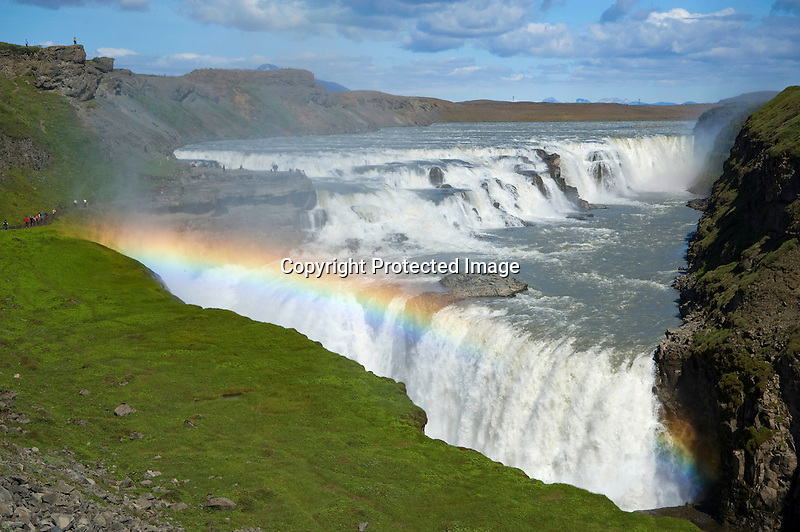 Colorful Rainbow and Mists at the Powerful Gullfoss Waterfall in South Iceland