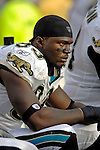 26 November 2006: Jacksonville Jaguars defensive end Bobby McCray (93) watches the play from the side lines during a game against the Buffalo Bills at Ralph Wilson Stadium in Orchard Park, NY. The Bills defeated the Jaguars 27-24. Mandatory Photo Credit: Ed Wolfstein Photo<br />