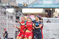 Orlando, FL - Saturday October 14, 2017: Amandine Henry, Hayley Raso, Abby Erceg during the NWSL Championship match between the North Carolina Courage and the Portland Thorns FC at Orlando City Stadium.