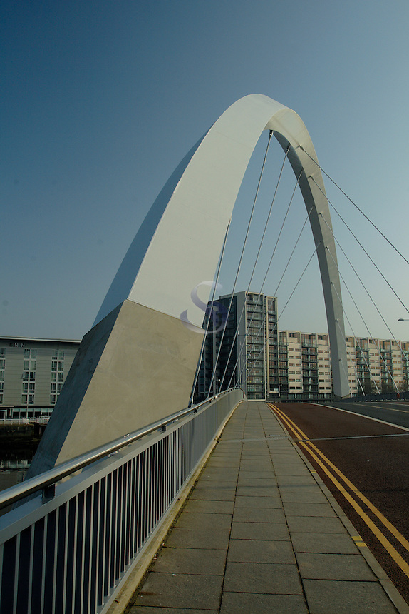 The Clyde Arc, or the Squinty Bridge, Pacific Quay, Glasgow<br /> <br /> Copyright www.scottishhorizons.co.uk/Keith Fergus 2011 All Rights Reserved