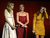 LAS VEGAS, NV - APRIL 24: (L-R) Actors Leslie Bibb, Annabelle Wallis, and Isla Fisher onstage during the Warner Bros. Pictures presentation at CinemaCon 2018 at The Colosseum at Caesars Palace on April 24, 2018 in Las Vegas, Nevada. (Photo by Frank Micelotta/PictureGroup)