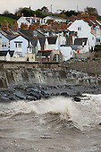 Sea wall and terrace houses in Watchet, Somerset.