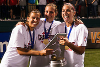 Portland Thorns midfielder Tobin Heath (17), midfielder Allie Long (10), and forward Alex Morgan (13) celebrate after the match. The Portland Thorns defeated the Western New York Flash 2-0 during the National Women's Soccer League (NWSL) finals at Sahlen's Stadium in Rochester, NY, on August 31, 2013.