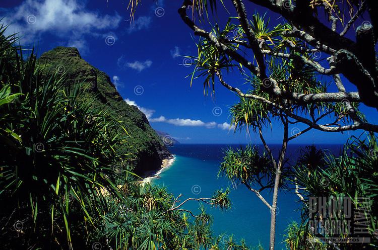 Hanakapiai beach off Kalalau trail on the Na Pali coast