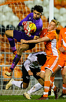 Derby County's Bradley Foster-Theniger makes a save under pressure from Blackpool's Owen Watkinson<br /> <br /> Photographer Alex Dodd/CameraSport<br /> <br /> The FA Youth Cup Third Round - Blackpool U18 v Derby County U18 - Tuesday 4th December 2018 - Bloomfield Road - Blackpool<br />  <br /> World Copyright © 2018 CameraSport. All rights reserved. 43 Linden Ave. Countesthorpe. Leicester. England. LE8 5PG - Tel: +44 (0) 116 277 4147 - admin@camerasport.com - www.camerasport.com