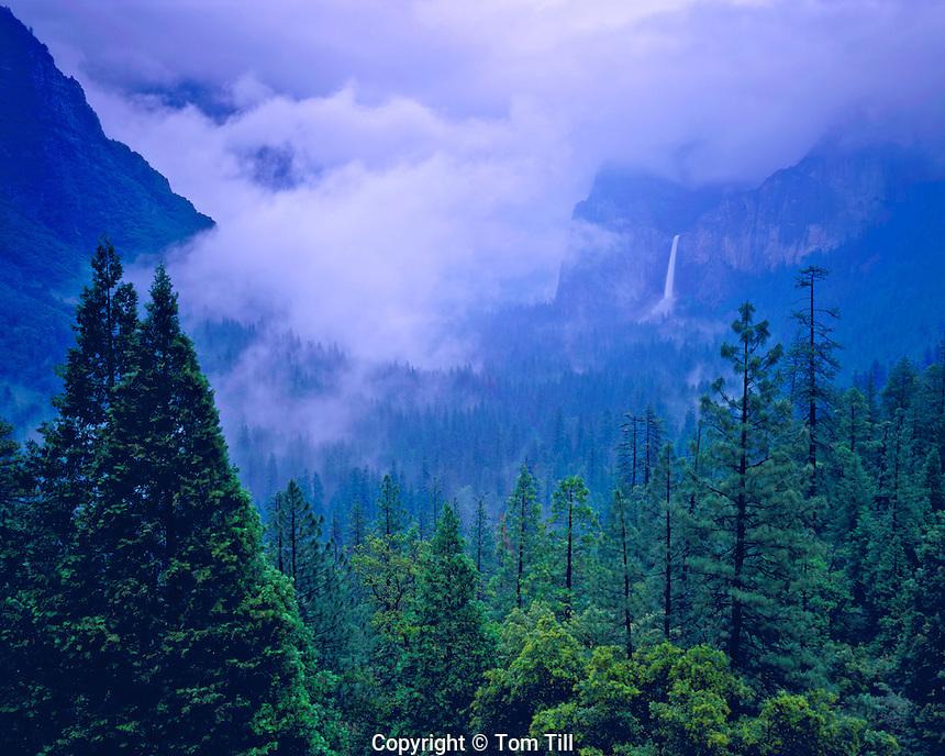 Spring storm in Yosemite Valley over Bridalveil Falls, Yosemite National Park, California