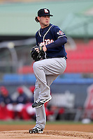 New Hampshire Fisher Cats starting pitcher Drew Hutchison #10 delivers a pitch during a game against the Reading Phillies at FirstEnergy Stadium on April 10, 2012 in Reading, Pennsylvania.  New Hampshire defeated Reading 3-2.  (Mike Janes/Four Seam Images)