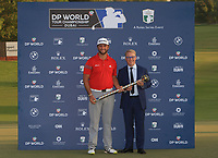 Jon Rahm (ESP) winner of the DP World Tour Championship 2017 with Keith Pelley (CEO European Tour), at Jumeirah Golf Estates, Dubai, United Arab Emirates. 19/11/2017<br /> Picture: Golffile | Thos Caffrey<br /> <br /> <br /> All photo usage must carry mandatory copyright credit     (© Golffile | Thos Caffrey)