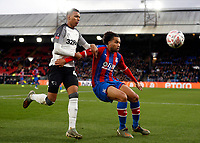 5th January 2020; Selhurst Park, London, England; English FA Cup Football, Crystal Palace versus Derby County; Morgan Whittaker of Derby County challenges Jairo Riedewald of Crystal Palace - Strictly Editorial Use Only. No use with unauthorized audio, video, data, fixture lists, club/league logos or 'live' services. Online in-match use limited to 120 images, no video emulation. No use in betting, games or single club/league/player publications