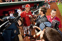 David Freese (23) of the St. Louis Cardinals talks with the media after a game against the Springfield Cardinals at Hammons Field on April 2, 2012 in Springfield, Missouri. (David Welker/Four Seam Images)
