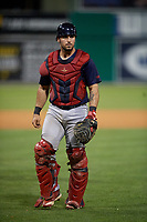 Lowell Spinners catcher Elih Marrero (5) during a NY-Penn League game against the Batavia Muckdogs on July 10, 2019 at Dwyer Stadium in Batavia, New York.  Batavia defeated Lowell 8-6.  (Mike Janes/Four Seam Images)