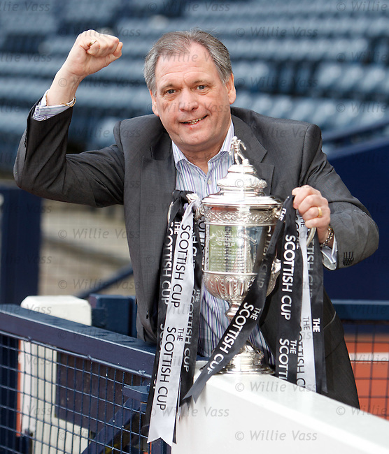 Berwick Rangers boss Jimmy Crease with the Scottish Cup as his side have drawn Celtic
