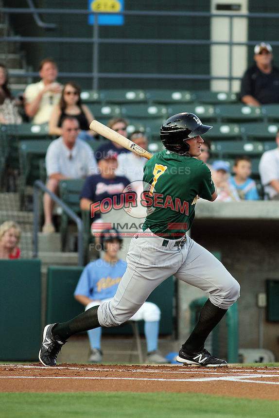 Lynchburg Hillcats shortstop Nick Ahmed #7 at bat during a game against the Myrtle Beach Pelicans at Ticketreturn.com Field at Pelicans Park on May 24, 2012 in Myrtle Beach, South Carolina. Myrtle Beach defeated Lynchburg by the score of 8-6. (Robert Gurganus/Four Seam Images)