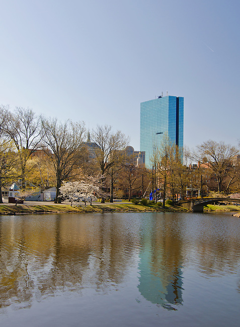 The John Hancock Tower is reflected in the Charles River from the Esplanade, boston, Massachusetts