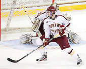 Patch Alber (BC - 3) - The Boston College Eagles defeated the University of Massachusetts-Amherst Minutemen 3-2 to take their Hockey East Quarterfinal matchup in two games on Saturday, March 10, 2012, at Kelley Rink in Conte Forum in Chestnut Hill, Massachusetts.