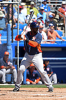 Houston Astros designated hitter Chris Carter (23) during a Spring Training game against the Toronto Blue Jays on March 9, 2015 at Florida Auto Exchange Stadium in Dunedin, Florida.  Houston defeated Toronto 1-0.  (Mike Janes/Four Seam Images)