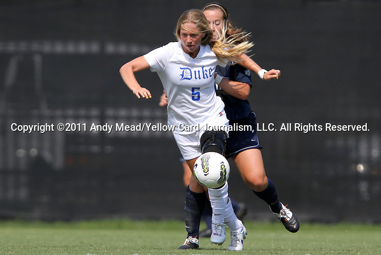 11 September 2011: Duke's Kaitlyn Kerr. The Duke University Blue Devils defeated the University of North Carolina at Greensboro Spartans 2-0 at Koskinen Stadium in Durham, North Carolina in an NCAA Division I Women's Soccer game.