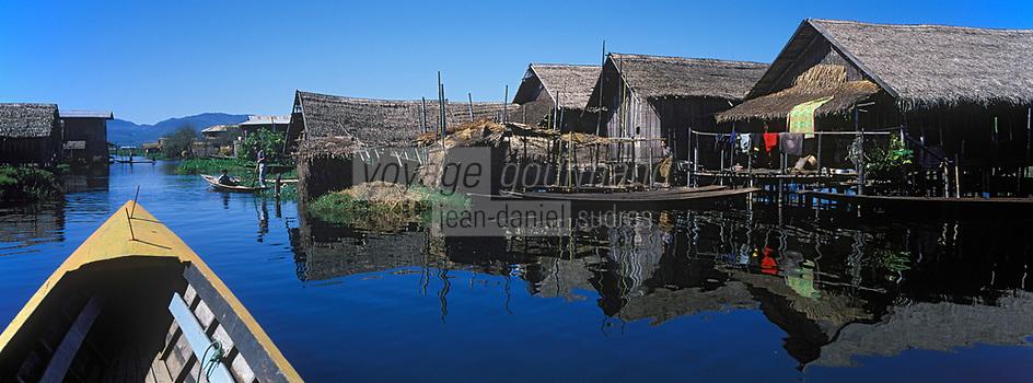 Asie/Birmanie/Myanmar/Plateau Shan/Ywathit: Lac Inle - Promenade en canot dans le village