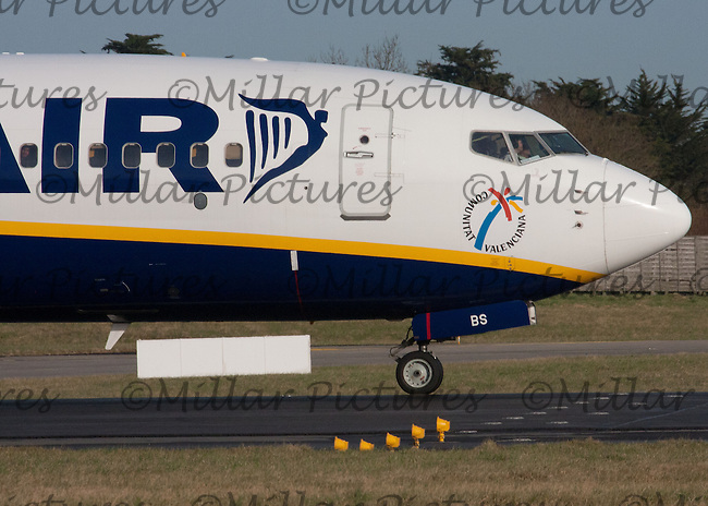 A Ryanair Boeing 737-8AS Registration EI-EBS taking off at Dublin Airport on 8.2.11.