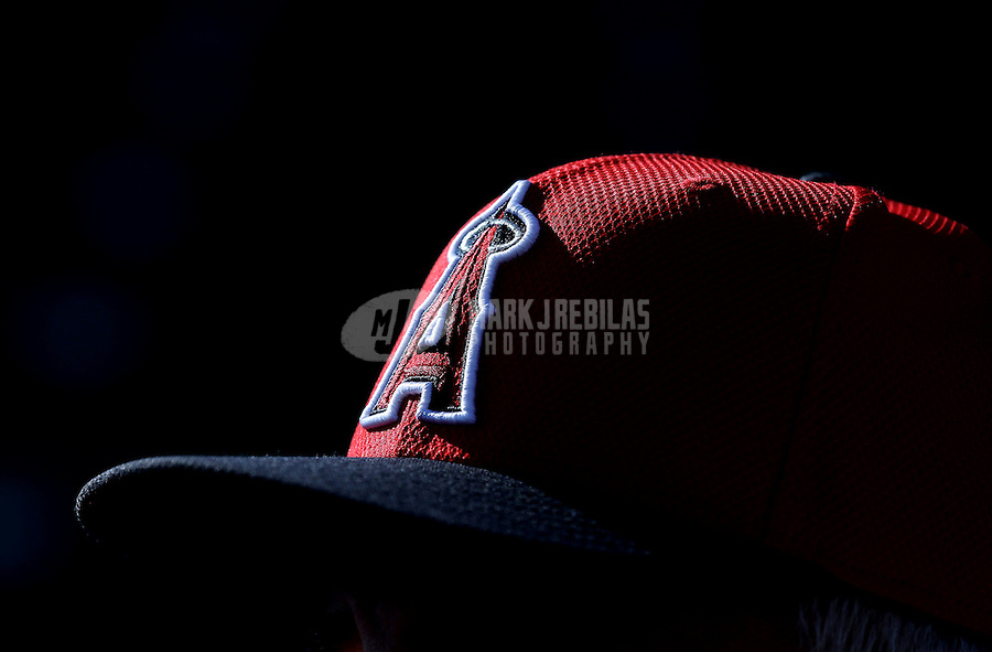Feb. 12, 2013; Tempe, AZ, USA: Detailed view of the Los Angeles Angels logo on a hat during spring training at Tempe Diablo Stadium. Mandatory Credit: Mark J. Rebilas-USA TODAY Sports
