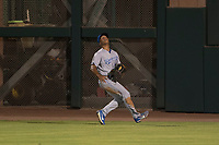 AZL Royals right fielder Kevon Jackson (16) prepares to catch a fly ball during an Arizona League game against the AZL Giants Black at Scottsdale Stadium on August 7, 2018 in Scottsdale, Arizona. The AZL Giants Black defeated the AZL Royals by a score of 2-1. (Zachary Lucy/Four Seam Images)