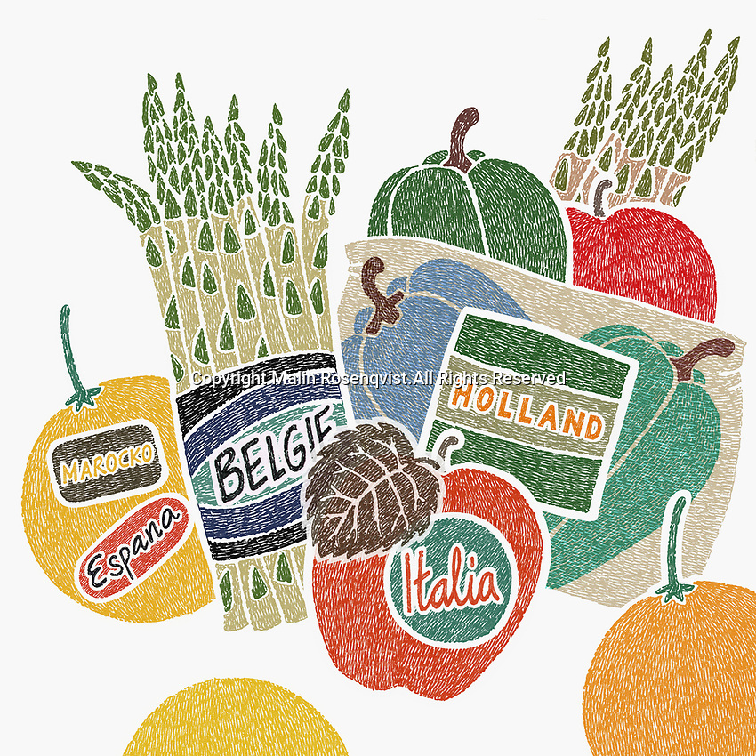 Food labels with country of origin