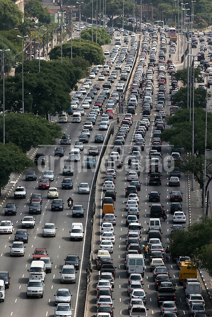 Morning rush hour in Sao Paulo, Brazil, the largest city in South America.